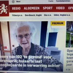 GGD Hart voor Brabant wil toch voor vaccinatie 102-jarige mevrouw in Sint-Oedenrode gaan zorgen