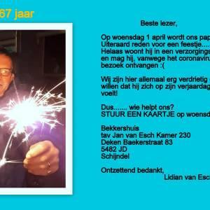 Laat Jan van Esch niet in de steek op zijn verjaardag