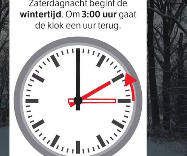 Wintertijd: Zaterdagnacht klok één uur terug.