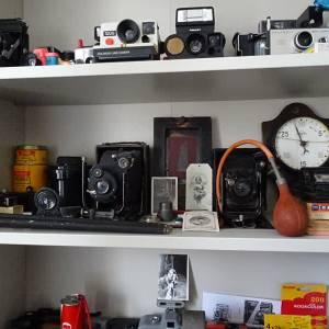 Oude fototoestellen op verzamelbeurs in Eerde